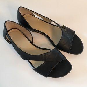 Black Faux Leather Low Heel Sandal Jutta Open Toe